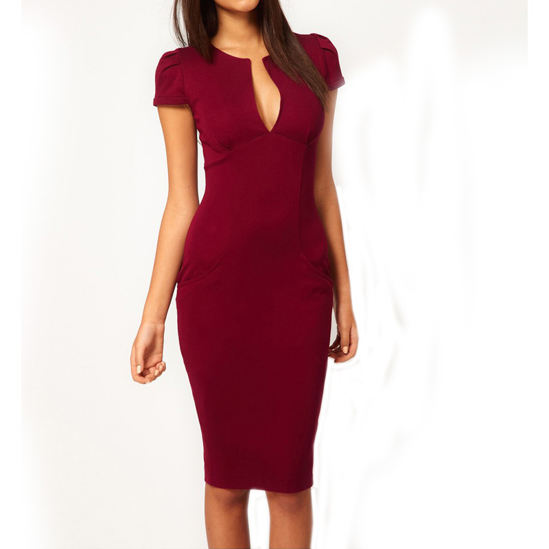 Elegant Ladies' V-Neck Fashion Celebrity Pencil Dress,Women Wear to Work Slim Knee-Length Pocket Party Bodycon Dress XS-XL