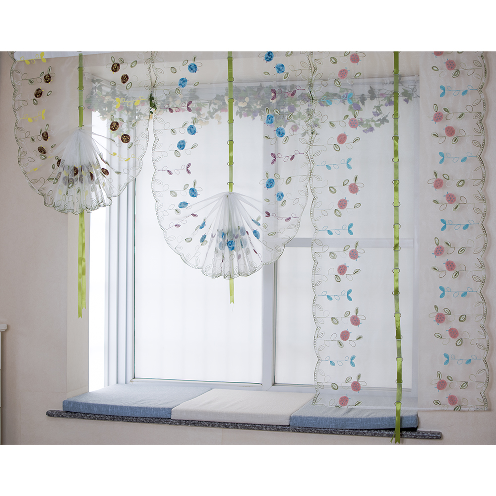 Organza wool embroidery pattern balloon curtain tulle art modeling curtains for kitchen bedroom for Balloon curtains for living room