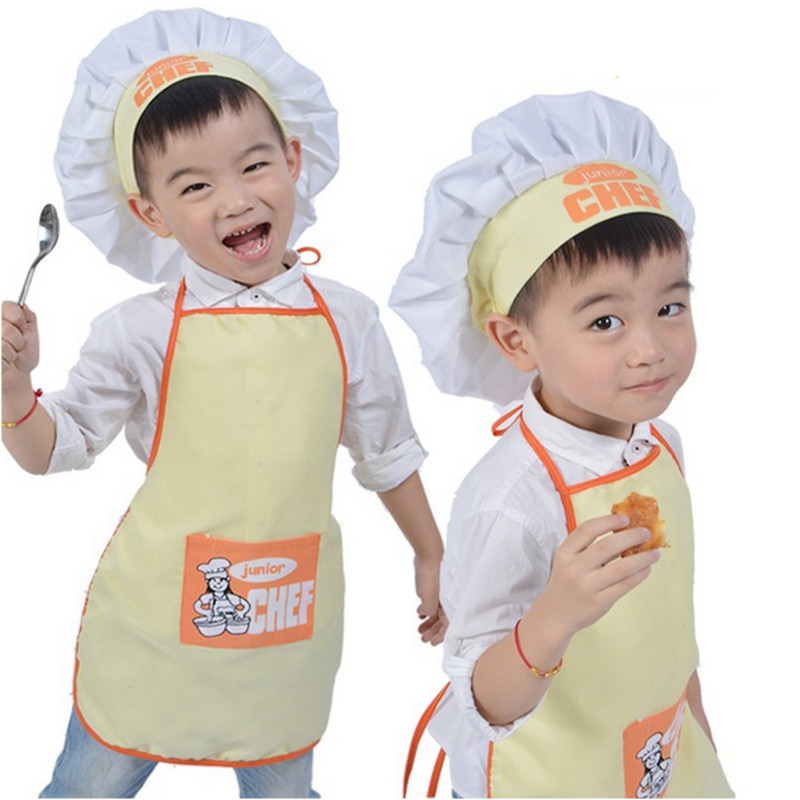 Polyester Kids Apron and Chef Hat Child Cooking Baby Apron Junior Chef Cook Apron Painting Apron Family Outings Supplies(China (Mainland))
