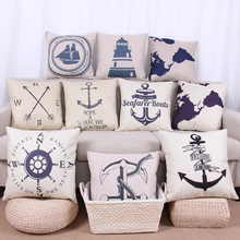 Buy Sailor Vintage Ocean Cushion Cover Cotton Linen Decorative Pillowcase Chair Seat Square 45x45cm Pillow Cover Home Living Textile for $4.99 in AliExpress store