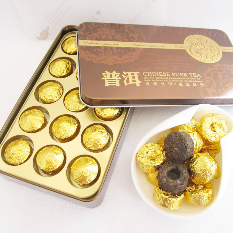 Nice gifts packing Puer tea 75g Yunnan Min Pu er 15pcs Ripe puerh 2006 Year pu