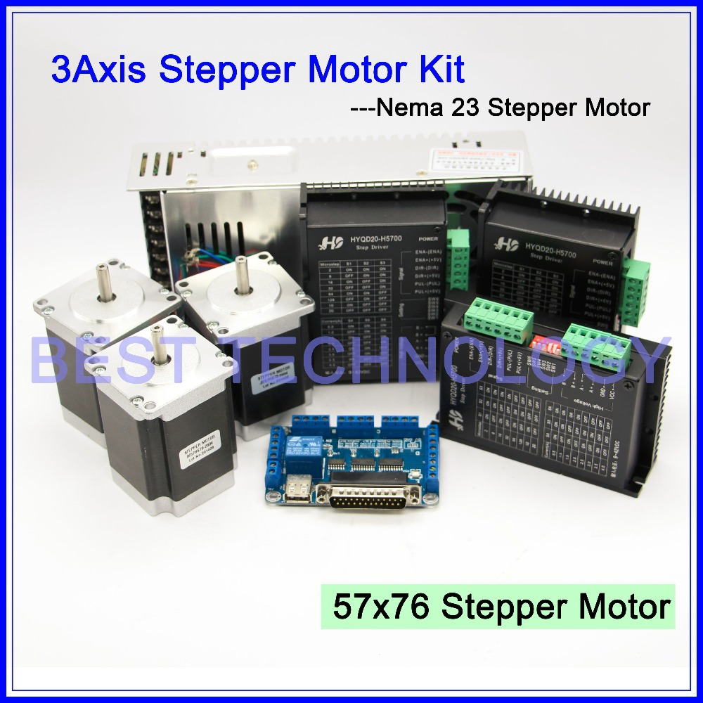 Buy 3axis Cnc Controller Kit 3pcs Nema23 Cnc Stepper Motor 57x76mm Stepping
