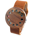 12 Holes Design Wooden Wristwatch Brown Genuine Leather Band Japan Move Quartz Wood Watches for Friends