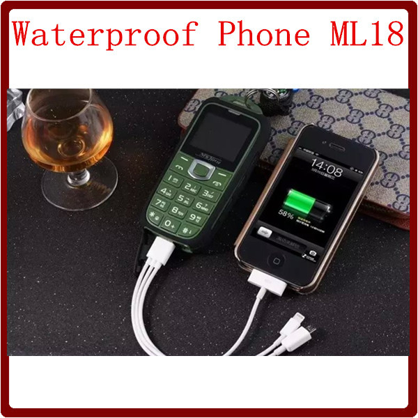 Waterproof ML18 2015 GSM Power Bank 8800 mAh Long Standby Flashlight Bluetooth Russian Keyboard Language Old Man Mini Cellphone(China (Mainland))