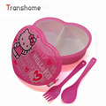 TRANSHOME Heart Shape Cartoon Lunch Boxes With Fork Spoon Cute Bento Children Box Microwave Cutlery Set