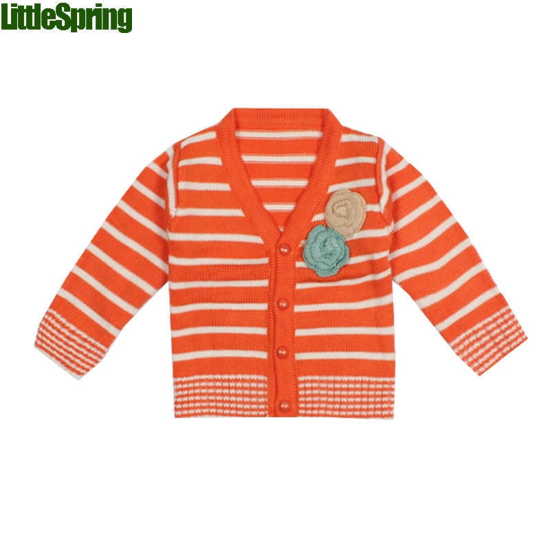 Casual children sweatercoats spring autumn long sleeves striped flower fashion sweater cardigan girls - baby_mart store