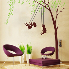 Buy Boy Girls Swing Wall Stickers kids Rooms Green Tree Wall Decals Living Room Bedroom Decor Mural Poster 60*90cm for $4.54 in AliExpress store