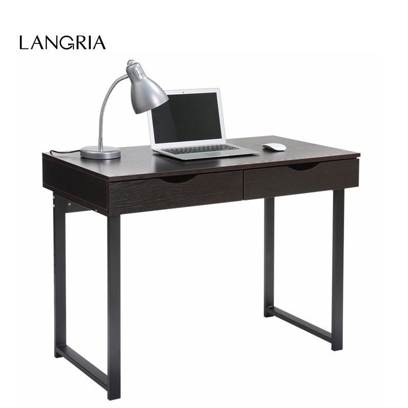 LANGRIA Minimalist Computer Desk Console Table with 2 Drawers Home Laptop Table College Home Office Black Walnut(China (Mainland))