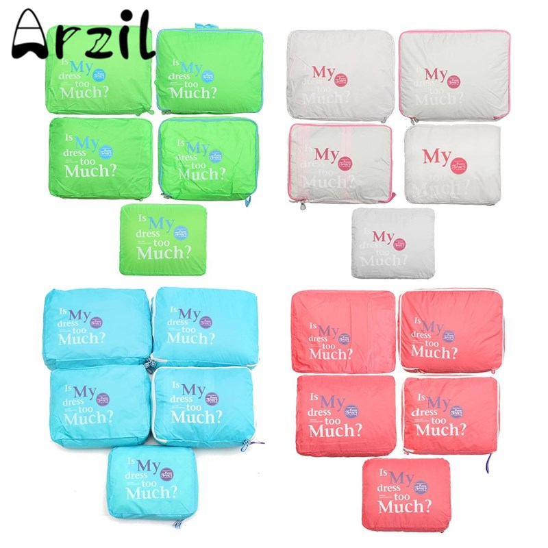 5pcs/set Clothes Luggage Duffle Bag Travel Bags Travel Packing Cube Unisex Clothing Sorting Organize Bag Waterproof Polyester(China (Mainland))
