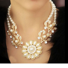 Fashion charm jewelry crystal pearl flower Bohemian shortness of breath necklace
