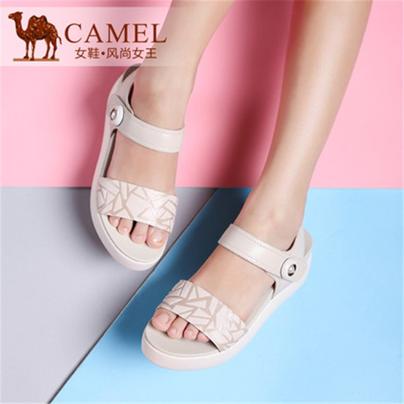 High Quality Brand Camel Summer Fashion Leisure Thick Bottom Sponge Cake Waterproof Sheepskin Hook&amp;Loop Peep-toe Women Sandals<br><br>Aliexpress