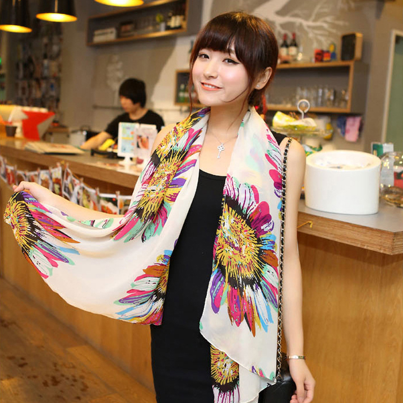 Brand Design Desigual Scarf Korean National Winter Scarves Fashion Elegant Big Sun Flower Printed Cotton Voile Long Scarf HT226(China (Mainland))