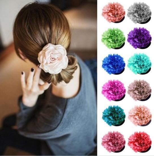New Korea Woman Lady Sweet Peony Flower Hair Clip Hairpin Brooch hair accessory(China (Mainland))