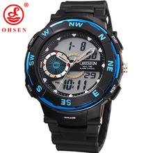 OHSEN Brand Men Boy Sports Watches LED Digital Quartz Watch Multifunction Waterproof Dive Swim Outdoor Military