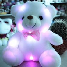 J242 Kawaii!! New Arrival 20cm LED Soft Colorful Glowing Small Animal Bear Stuffed Doll Plush Toys Kids Gifts Wholesale(China (Mainland))