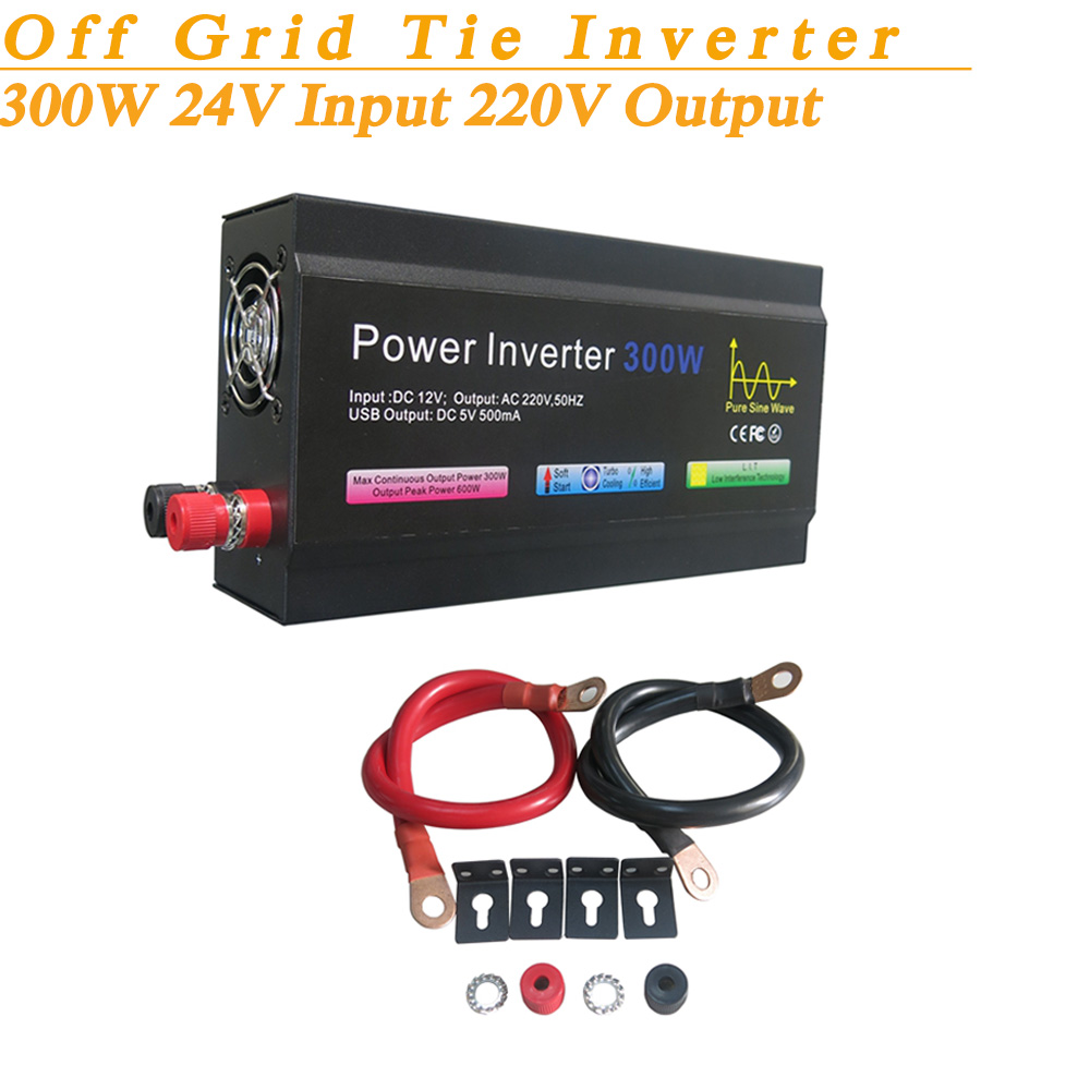 Full Power 300W Off Grid Pure Sine Wave Inverter DC24V Input 220V Output Soft Start High Conversion Efficiency with USB 5V 500mA(China (Mainland))