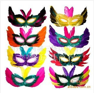 Factory wholesale halloween masquerade mask mardi gras feather mask 50pcs/lot,free shipping(China (Mainland))