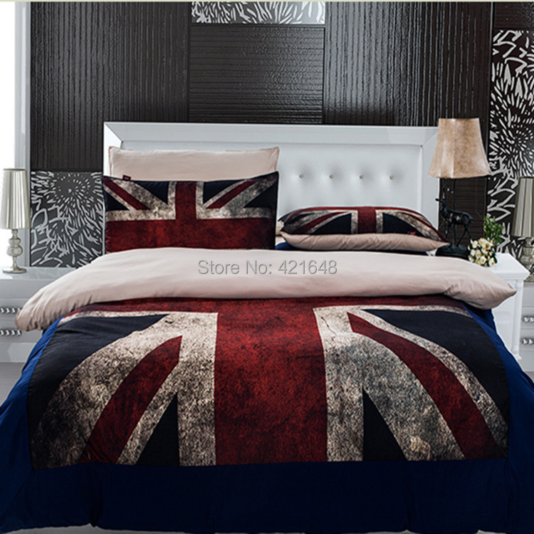 buy 3pcs 4pcs uk flag bedding set twin full queen size usa flag duvet cover. Black Bedroom Furniture Sets. Home Design Ideas