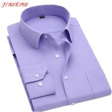 Long Sleeve Slim Men's Business Shirts 2015 Autumn New Fashion Designer High Quality Solid Male Fit  Formal Dress Shirt 5XL N351