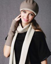 3 шт./компл. двухсторонний цвет 100% овечьей шерсти женщин мода шарф шляпа перчатки 30 x 210 см бесплатная доставка