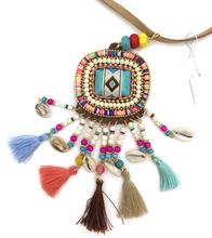 2015 luxury leather bohemia style jewelry thread tassel Summer Boho necklace tassel Turquoise pendant  Necklaces tassel  tibetan(China (Mainland))