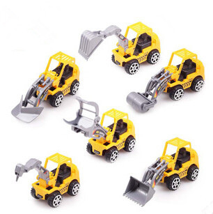 6pcs/Lot Yellow Color Toy Truck Models Mini Toys Construction Trucks For Kids Children Play Gift Toys free shipping(China (Mainland))