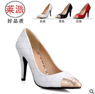 size34-39 2014 women's pointed toe autumn grid breathable high-heeled wedding single shoes metal lady korean pumps hh188 - Fashion Men & Women Shoes store