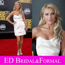 Julianne Hough White Dress 2008 American Music Awards Red Carpet Celebrity Short Cocktail Party Gown(China (Mainland))