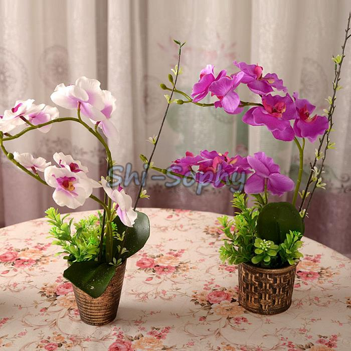 1 Bouquet Artificial Moth Orchid Butterfly Flower Home Garden Party Festival Wedding Decor(China (Mainland))