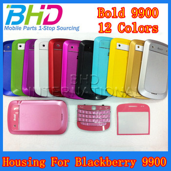 1PCS Free Shipping Full Housing case For Blackberry Bold 9900 Front Cover Back Cover Keyboard lens 12 Colors