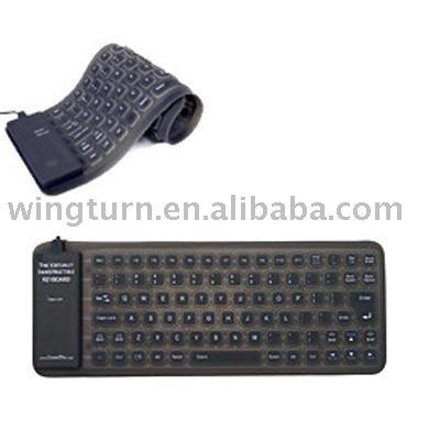 Silicone Flexible MINI PC MAC Keyboard USB Black 25
