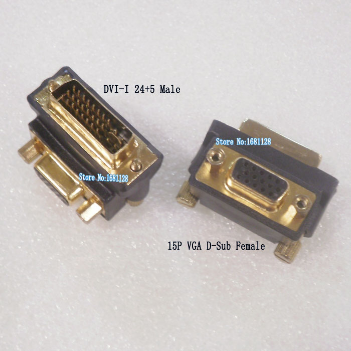 Gold plated DVI to D-sub Adapter 90 degree Right Angle DVI-I 24+5 to 15P VGA D-Sub connector Bend 29P DVI connect VGA monitor TV(China (Mainland))