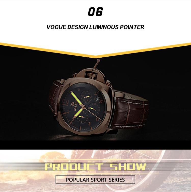 Натуральная Кожа Часы Мужчины Люксовый Бренд Случайные Часы Кварцевые Наручные Часы ХРОНОГРАФ 24 Часов Функции Часы 2302