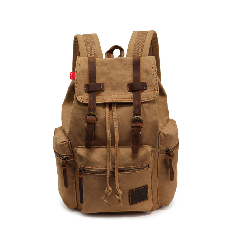 Men Vintage Satchel Canvas Leather Backpack Rucksack bags travel military school Bag men sports outdoor hiking