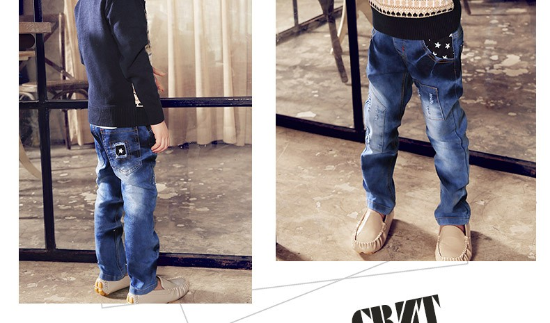CBZT Brand 2016 Spring and Autumn Kids Denim Pants Fashionable Patchwork Casual Jeans For Kids Boy/3-12 Years Old