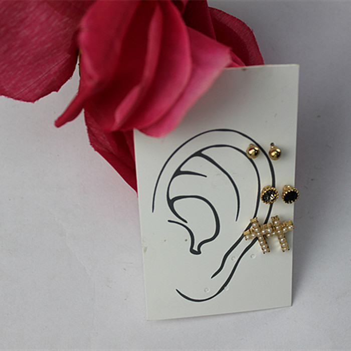 2015 Three simple cross Gold ball round earrings Crystal Mosaic Black semi-precious stones Female ear ornaments Free Shipping(China (Mainland))