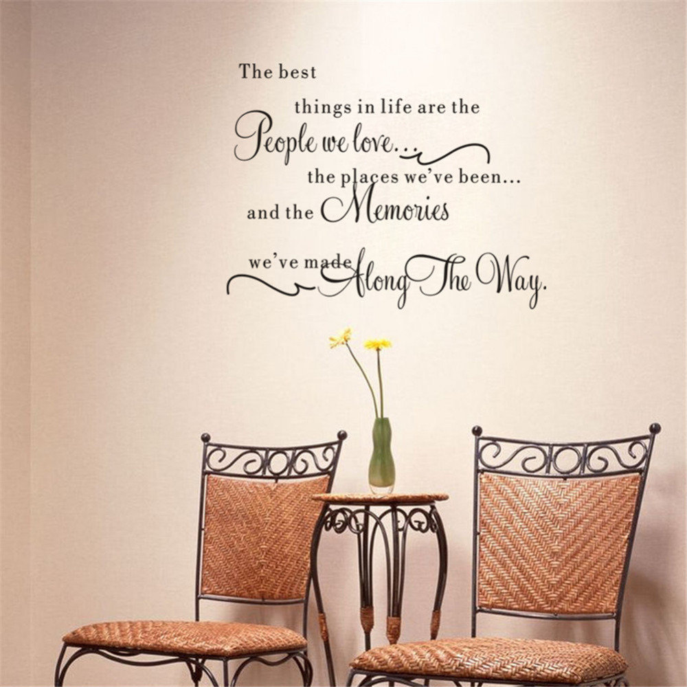 The best things in life vinyl wall decals love memories for Best home decor quotes