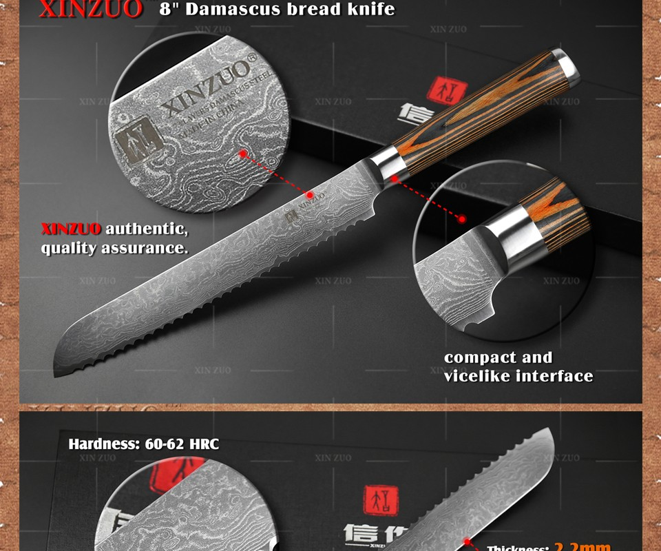 "Buy HOT XINZUO 8"" inches bread knives Damascus  kitchen knife sharp japanese VG10 cake knife with color wood handle free shipping cheap"