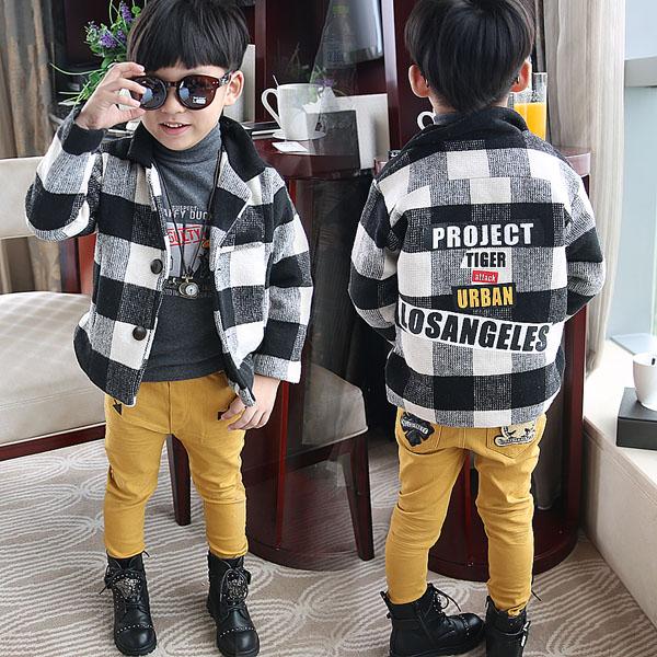 Childrens suit Wool Plaid suit boys Korean version of the suit coat thickened suit in autumn and winter<br><br>Aliexpress