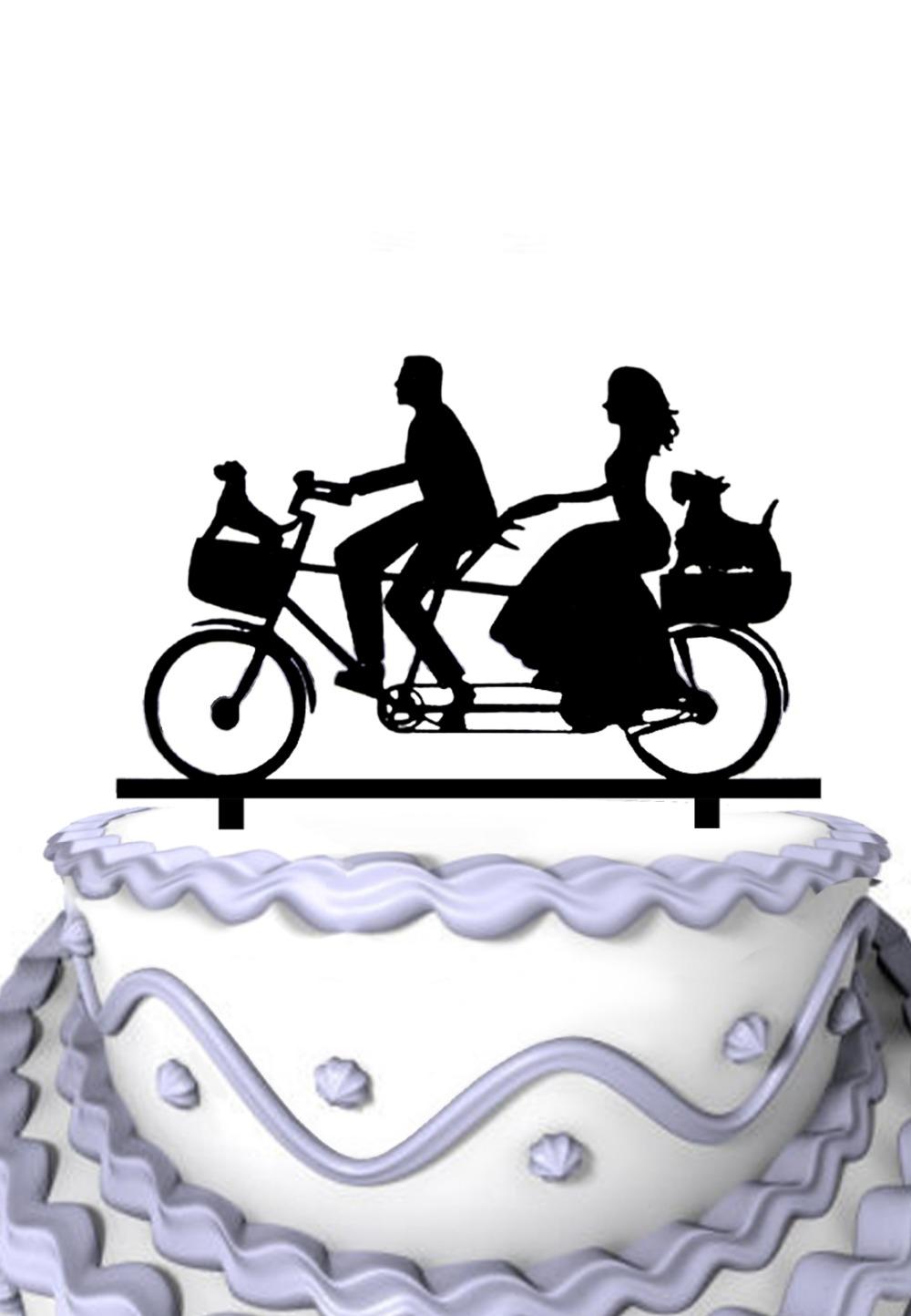 Acrylic Wedding Cake Topper Riding Bicycle Couple With Two Pet Dog Wedding Cake Decoration(China (Mainland))