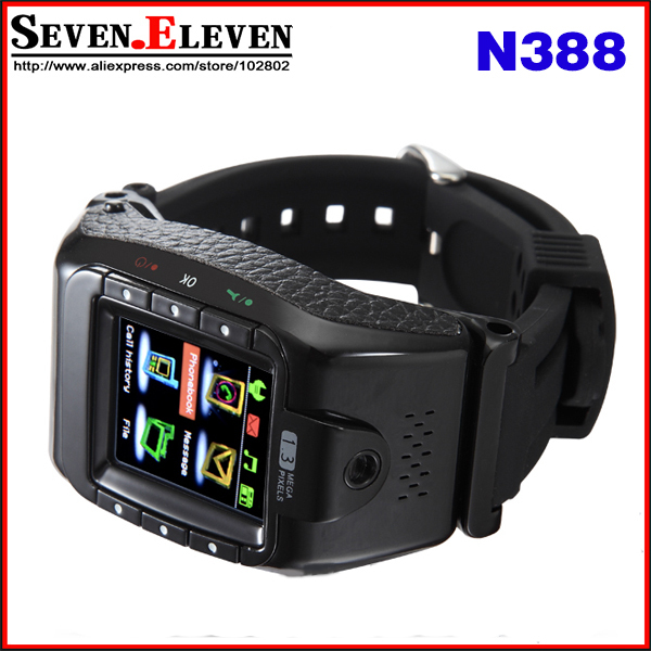 """Wholesale N388 Wrist Watch Phone GSM Quad Band Unlcoked Mobile With 1.4"""" Touch Screen Camera Bluetooth Mp3 FM GPRS(China (Mainland))"""