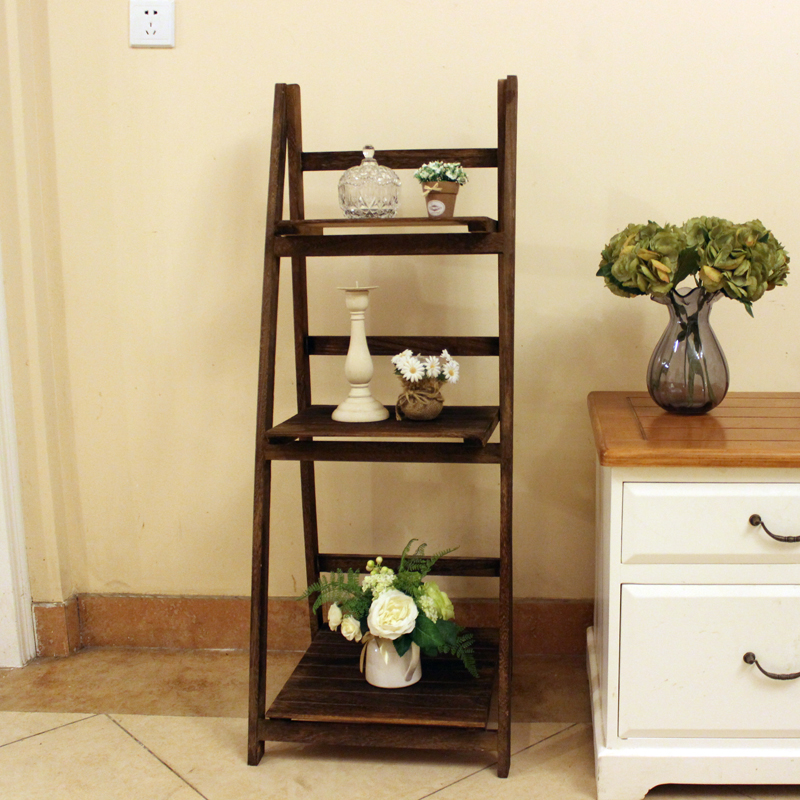 Rural rustic solid wood carbonized wood to do the old brown color multifunction shelving racks three housing<br><br>Aliexpress