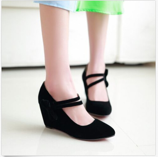 Plus Size Elegant Womens Faux Suede Lolita Bowknot Pointed Toe Wedge Heel Pumps Velcro Strap Shoes US4.5-10.5