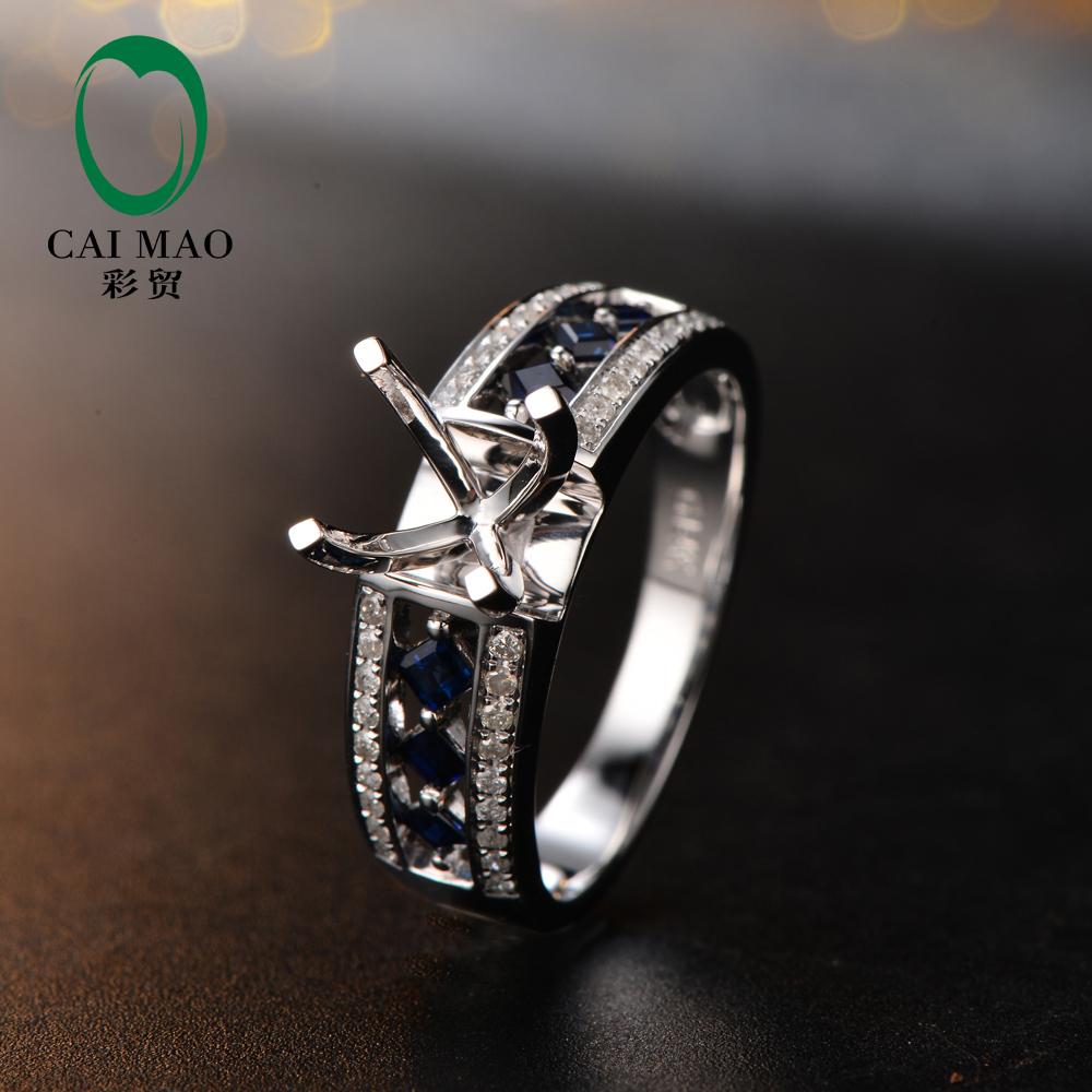 Free shipping Round Cut 7.5mm 14K White Gold Diamond&amp; Sapphire Semi Mount Engagement Ring Setting<br><br>Aliexpress