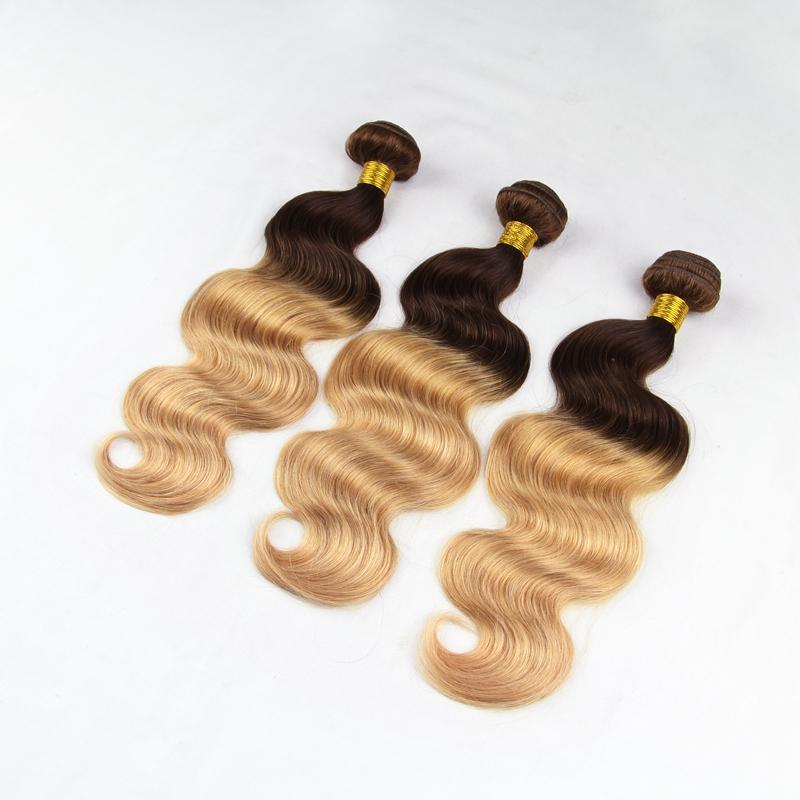 7A Brazilian Virgin Hair Two Tone #4/27 Color 3 Bundles Lot Human Vrigin Hair brazilian Virgin Hair Body Wave(China (Mainland))