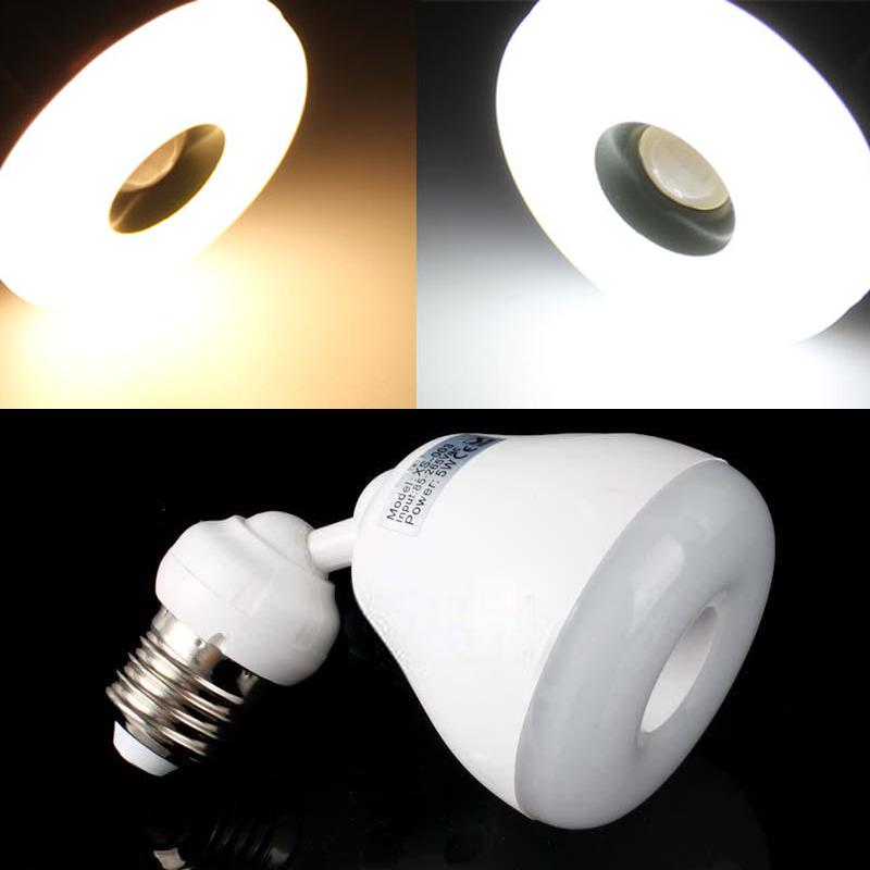 E27 5 w branco quente branco l mpada infravermelho pir - Detector de luz ...