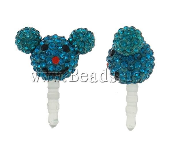 Free shipping!!!Earphone Jack Dust Cap Plugs,High Quality Jewelry, Clay, with Plastic,  Mouse, with rhinestone, blue
