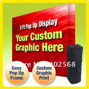 8' FABRIC VELCRO POP UP TRADE SHOW BOOTH DISPLAY + Custom Graphic PRINT(Freeshipping to USA)