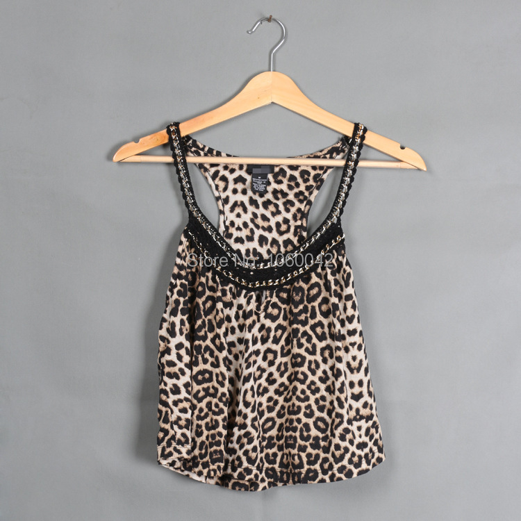 S-XL Plus Size Woman Summer Crop Top Sexy Leopard t shirt 2015 Women's Tanks Vintage Chain Sleeveless Cropped Crochet Halter Top(China (Mainland))