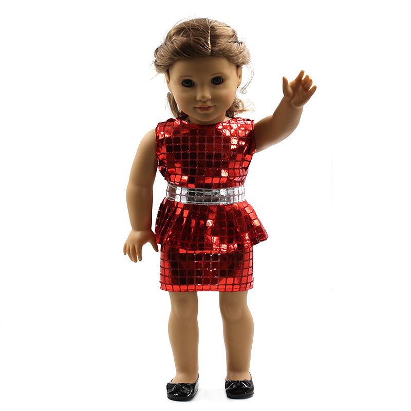 "Wholesales Red Flower Dress Doll Clothes For 18"" American Girl Handmade Free shipping MG041(China (Mainland))"